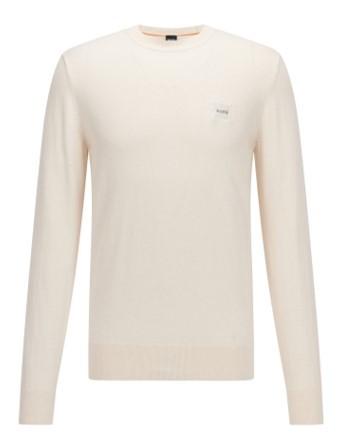 Hugo Boss Pullover Kanovant aus Baumwolle mit Kaschmir und Logo-Aufnäher weiß 131