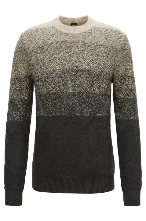 BOSS Pullover KARDUMAGE aus Baumwoll-Mix mit Aran-Muster Farbe grau 022