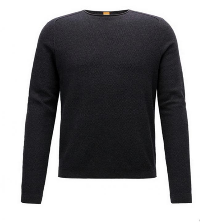 BOSS ORANGE Pullover Korasos Regular-Fit Pullover aus strukturiertem Baumwoll-Mix mit Schurwolle Farbe dunkelgrau 022