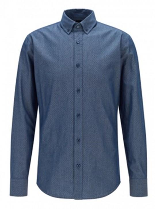 Hugo Boss Slim-Fit Hemd Mabsoot_1 aus strukturierter Baumwolle blau 407