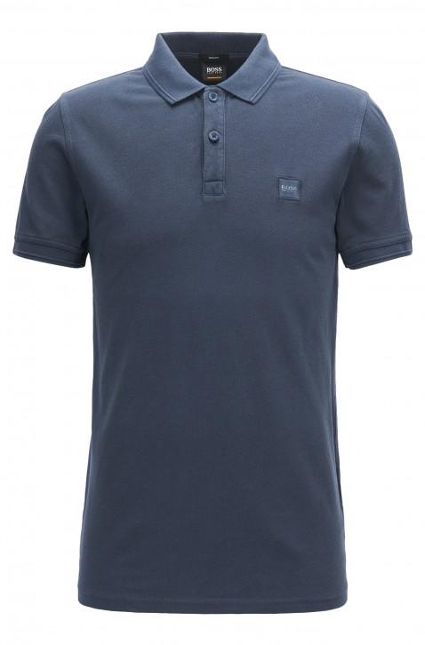 BOSS ORANGE Slim-Fit Poloshirt Prime aus gewaschenem Baumwoll-Piqué dunkelblau 402