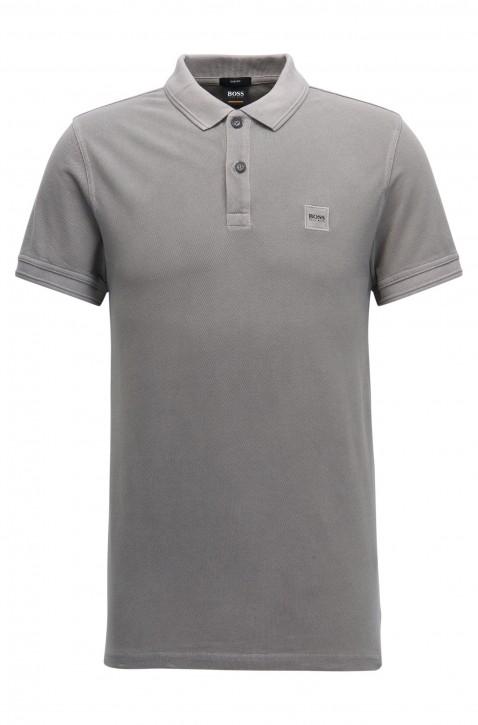 BOSS ORANGE Slim-Fit Poloshirt Prime aus gewaschenem Baumwoll-Piqué grau 032