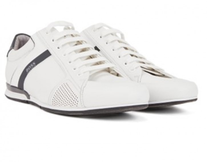 BOSS Lowtop Sneakers SATURN_LOWP_LUX4 aus Leder mit thermofixierten Details weiss 100