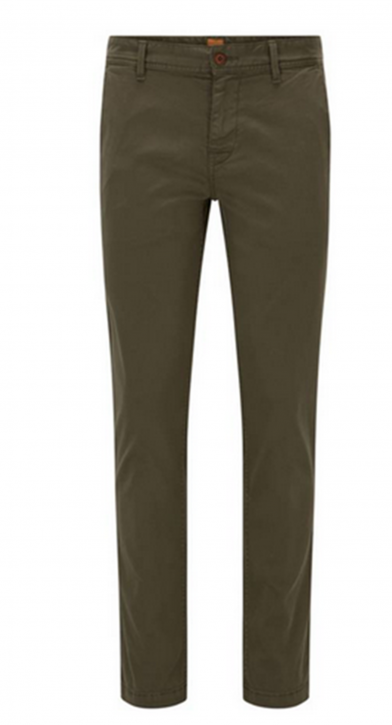 BOSS ORANGE Schino-Slim1-D  Slim-Fit Chino aus angerauter Stretch-Baumwolle Farbe dunkelgrün 309
