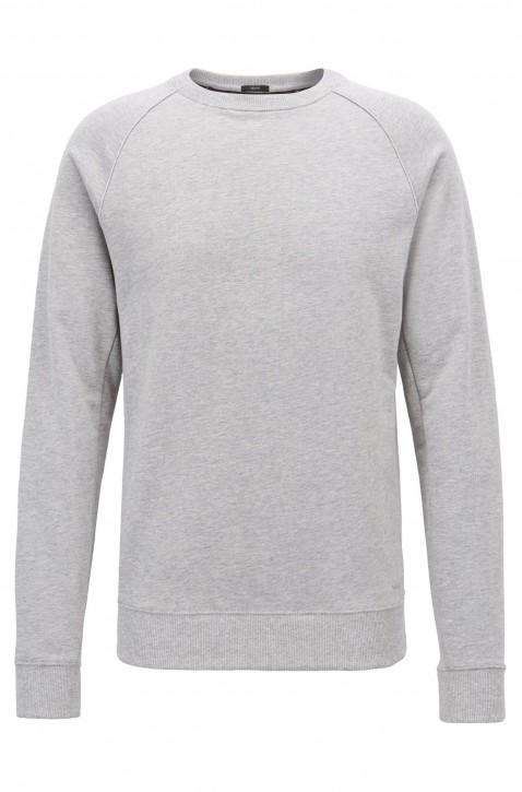 BOSS Pullover SKUBIC 32 aus Baumwoll-Terry mit Rundhalsausschnitt und Paspeln grau 072