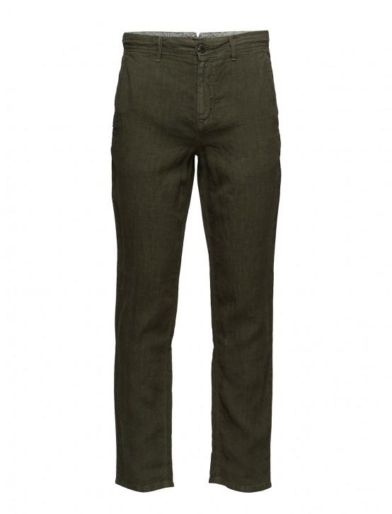 BOSS Tapered-Fit Hose Stapered4-D aus überfärbtem Leinen oliv 302