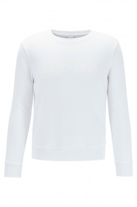 HUGO BOSS Sweatshirt TASITCH aus French Terry mit Logo aus Print-Mix weiss 100