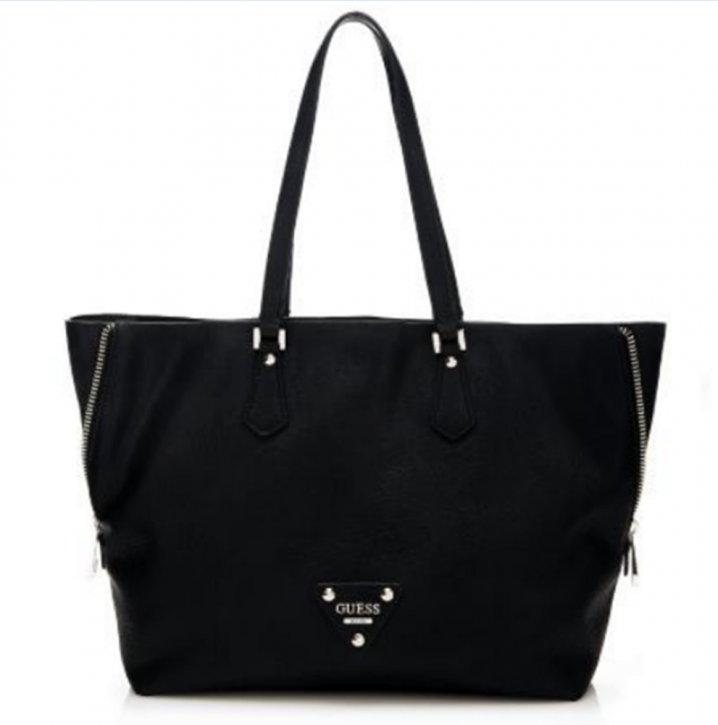 GUESS HANDTASCHE TYLA TOTE WITH POCHETTE CHARM BAG FARBE SCHWARZ