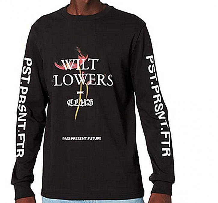 Hugo Boss Longsleeve Shirt TeGrunge mit Baumwolle mit Print am Arm und Front schwarz 001