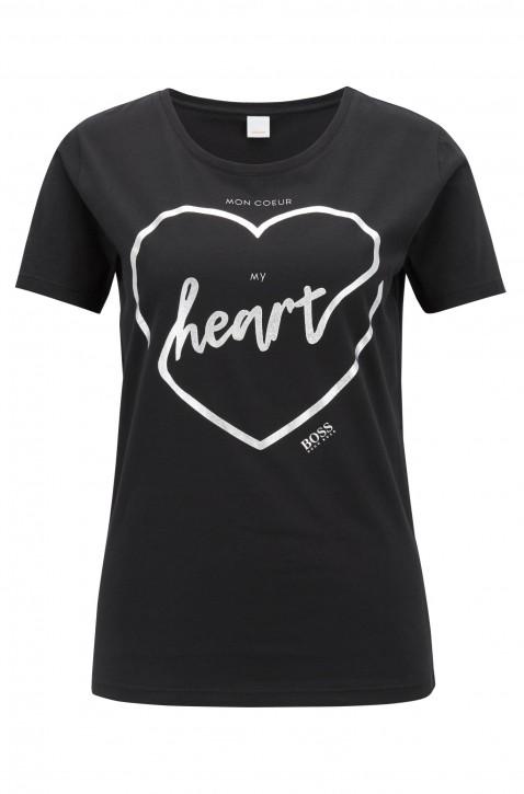 BOSS Slim-Fit T-Shirt Temoncoeur aus Baumwolle mit Herz-Print schwarz 001