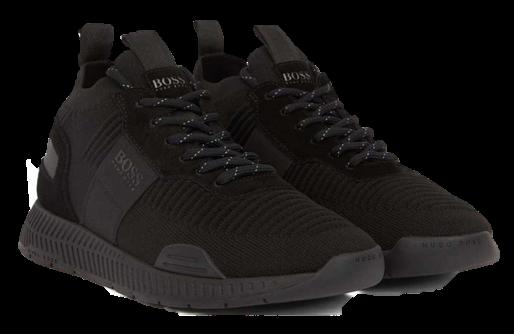 BOSS Sneakers TITANIUM_RUNN_KNST aus Nappa- und Nubukleder mit Monogramm-Motiv