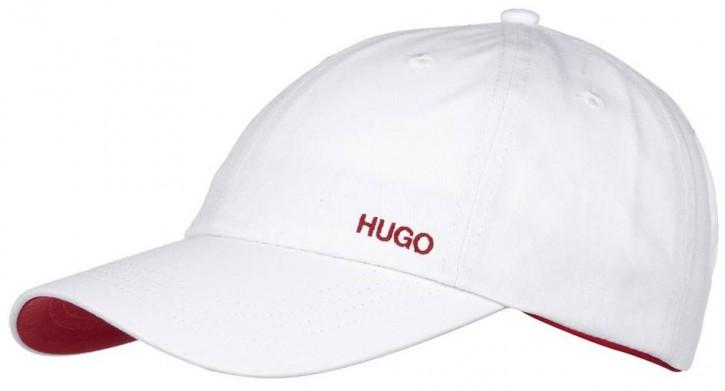 HUGO BASE CAP XABIO - FARBE 101 WEISS MIT ROTEN NÄHTEN UND ROTER SCHIRMUNTERLAGE